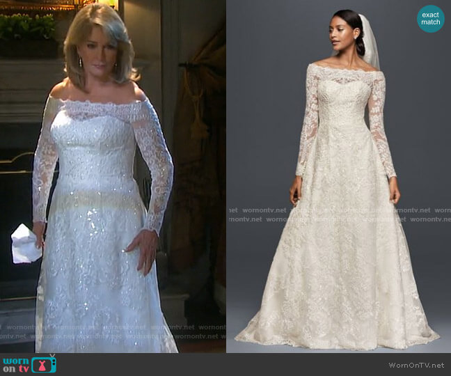 As-Is Off-The-Shoulder Lace A-Line Wedding Dress by Davids Bridal worn by Marlena Evans (Deidre Hall) on Days of our Lives