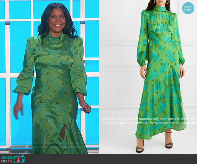 Clara Floral-print Satin Midi Dress by De La Vali worn by Nia Long on The Talk