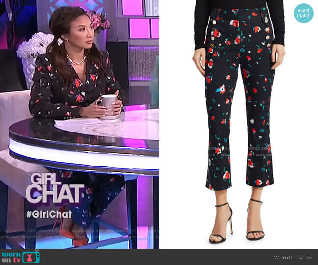 Floral High-Rise Cropped Pants by Derek Lam 10 Crosby worn by Jeannie Mai  on The Real