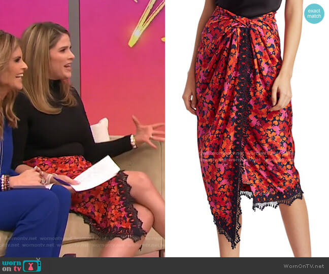 Liona Lace-Trimmed Faux-Wrap Skirt by Derek Lam 10 Crosby worn by Jenna Bush Hager  on Today