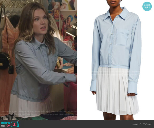 Long-Sleeve Mixed Media Shirtdress with Pleated Hem by Derek Lam 10 Crosby worn by Sutton (Meghann Fahy) on The Bold Type