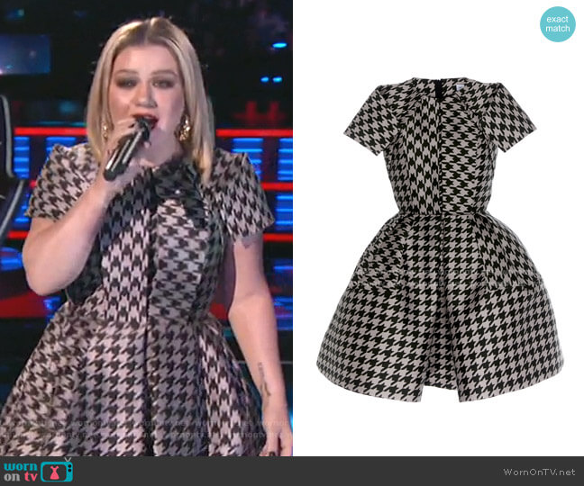 Virgin Wool Houndstooth Mini Dress by Dice Kayek worn by Kelly Clarkson  on The Voice