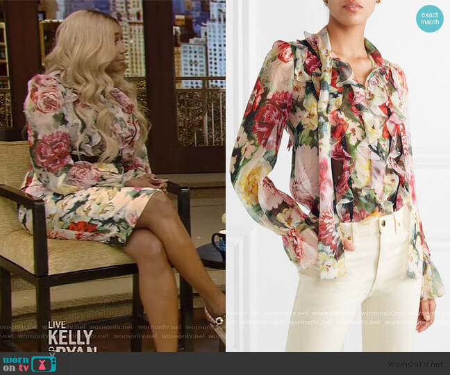 Ruffled floral-print silk-chiffon blouse by Dolce & Gabbana worn by Nene Leakes on Live with Kelly