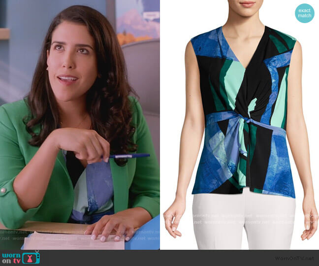 Printed Twist Top by Dona Karan worn by Shannon Ross (Nicole Power) on Kims Convenience