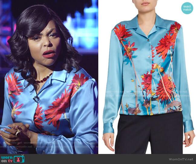 Dahlia Floral-Print Satin Button-Front Blouse by Dries Van Noten worn by Cookie Lyon (Taraji P. Henson) on Empire
