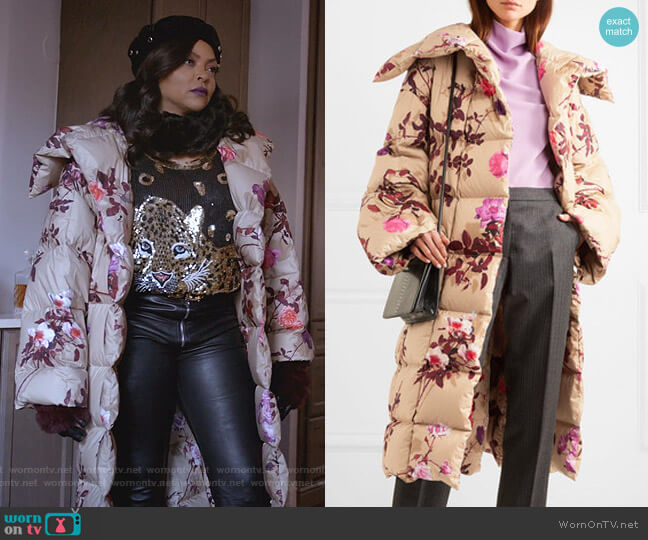 Floral Quilted Oversized Coat by Dries Van Noten worn by Cookie Lyon (Taraji P. Henson) on Empire