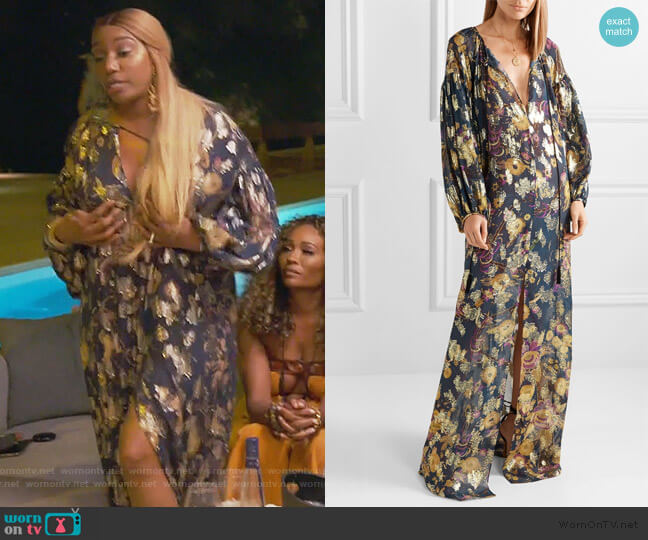 Metallic fil coupe silk-blend Chiffon Maxi Dress by Dundas worn by Nene Leakes  on The Real Housewives of Atlanta