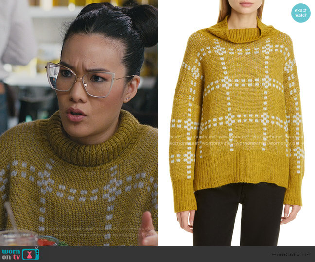 Check Alpaca Blend Sweater by Eckhaus Latta worn by Doris (Ali Wong) on American Housewife