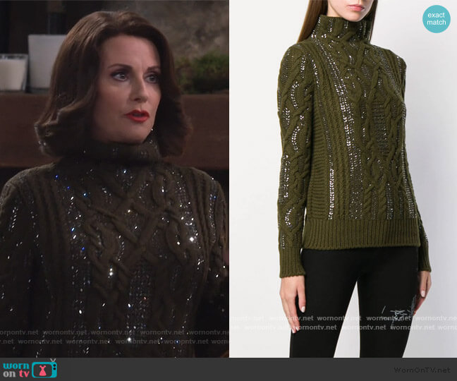 Cable Knit Jumper by Ermanno Scervino worn by Karen Walker (Megan Mullally) on Will & Grace