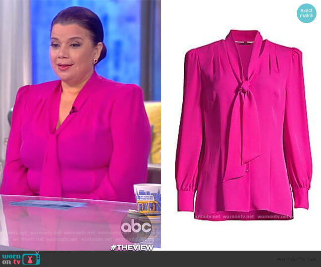 Percy Tie Silk Blouse by Elie Tahari worn by Ana Navarro  on The View