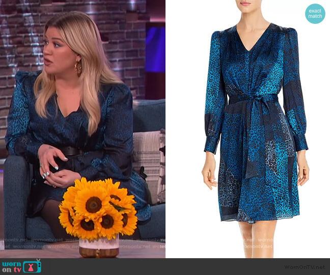 Silk Leopard Patchwork Print Dress by Elie Tahari worn by Kelly Clarkson  on The Kelly Clarkson Show