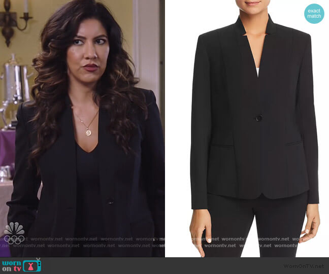 Tori Notched Collar Blazer by Elie Tahari worn by Rosa Diaz (Stephanie Beatriz) on Brooklyn Nine-Nine