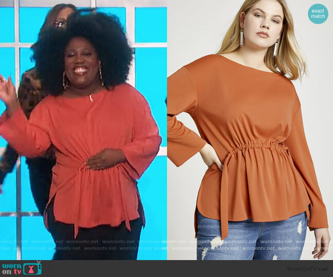 Adjustable Waistband Top by Eloquii worn by Sheryl Underwood  on The Talk