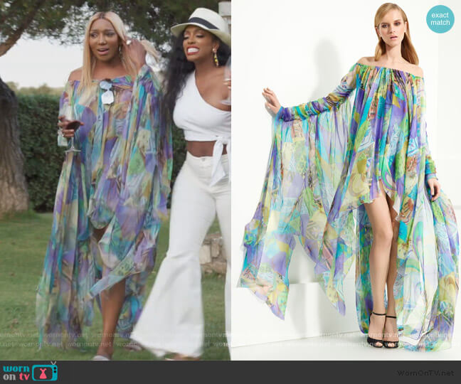 Patchwork Print Chiffon Gown by Emilio Pucci worn by Nene Leakes  on The Real Housewives of Atlanta