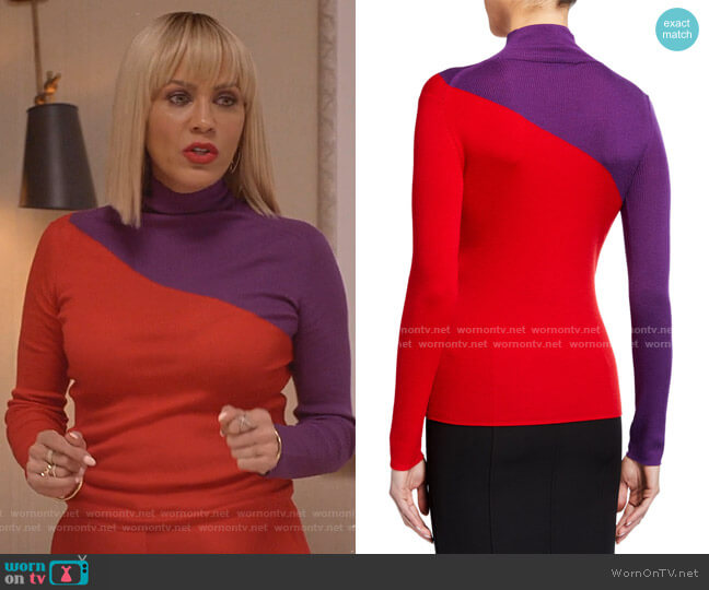 Colorblock Rib-Knit Turtleneck Sweater by Emporio Armani  worn by Giselle (Nicole Ari Parker) on Empire
