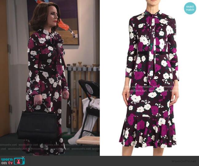 Hilma Bow Flounce Dress by Erdem worn by Karen Walker (Megan Mullally) on Will & Grace