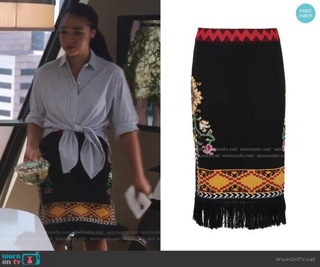 Woven Skirt by Etro worn by Kat Edison (Aisha Dee) on The Bold Type