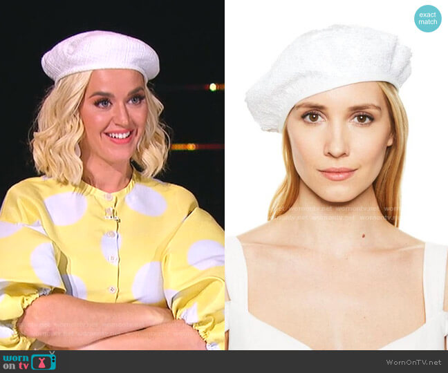 Cher Beret by Eugenia Kim worn by Katy Perry  on American Idol