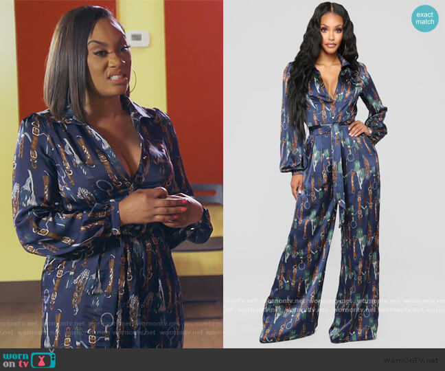 The Entertainer Satin Jumpsuit by Fashion Nova worn by Carmon Cambrice on The Real Housewives of Atlanta