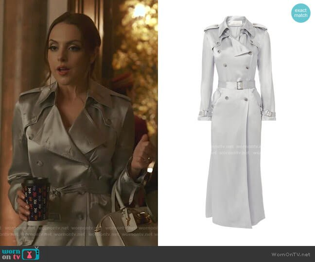 Silver Trench Coat by Fleur du Mal worn by Fallon Carrington (Elizabeth Gillies) on Dynasty