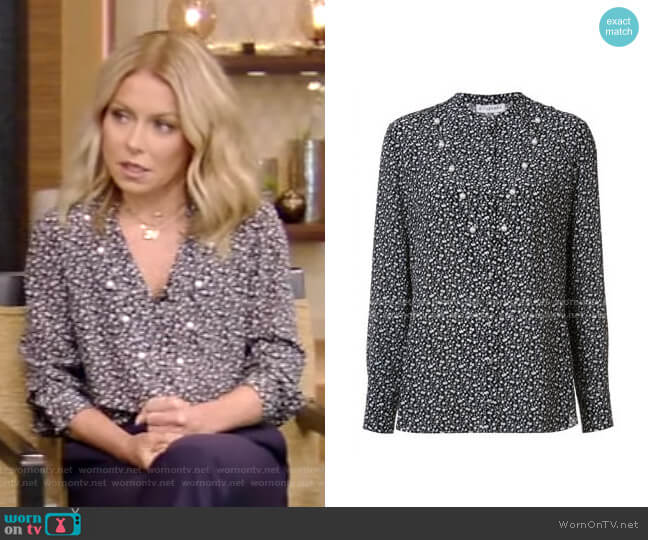 Floral Pearl Blouse by Altuzarra worn by Kelly Ripa  on Live with Kelly & Ryan