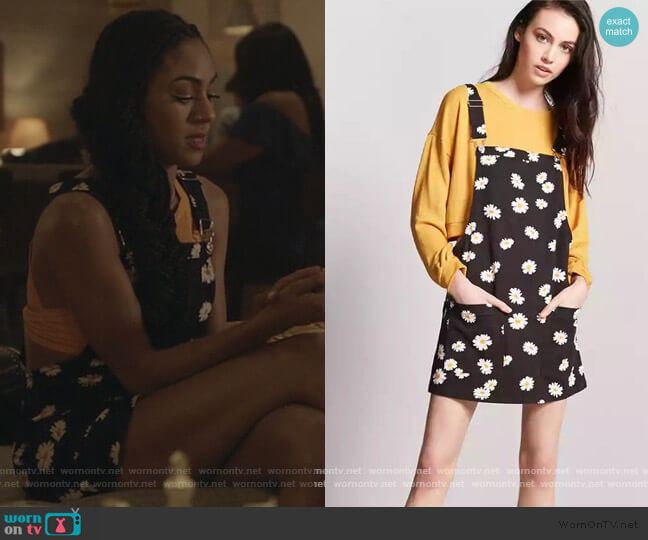 Floral Dungare Dress by Forever 21 worn by Patience (Chelsea Tavares) on All American