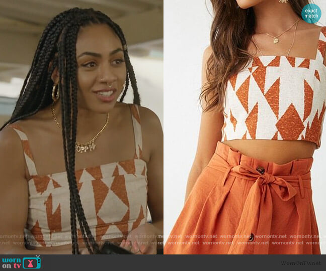 Geo Print Cropped Cami by Forever 21 worn by Patience (Chelsea Tavares) on All American