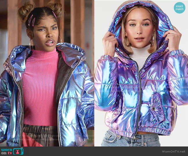 Iridescent Metallic Puffer Jacket by Forever 21 worn by Diamond White on Empire
