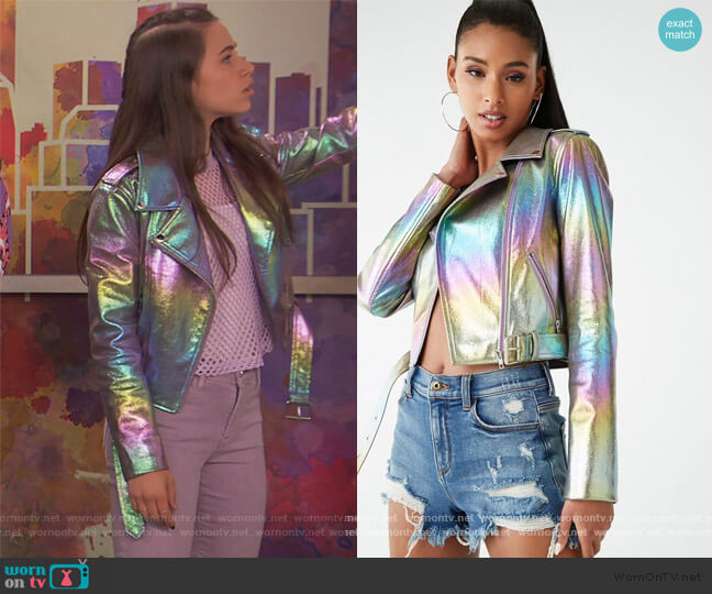 Metallic Moto Jacket by Forever 21 worn by Tess O'Malley (Sky Katz) on Ravens Home