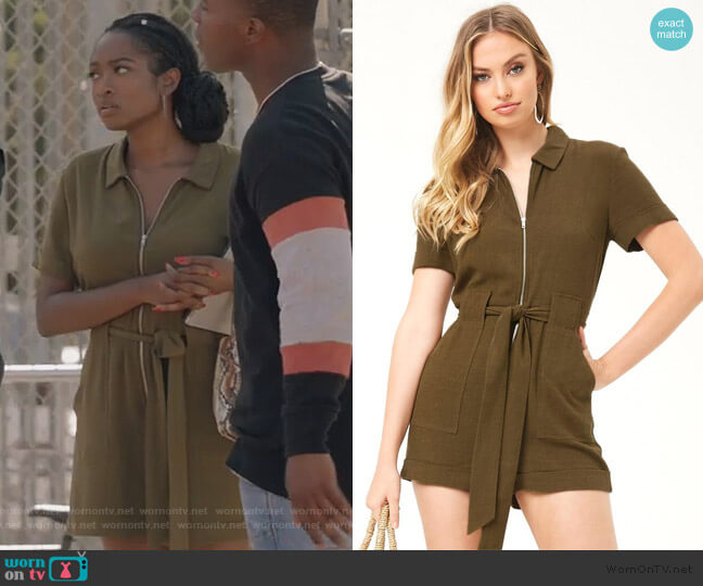 Olive Green Zip Romper by Forever 21 worn by Rochelle Mosley (Kayla Smith) on All American