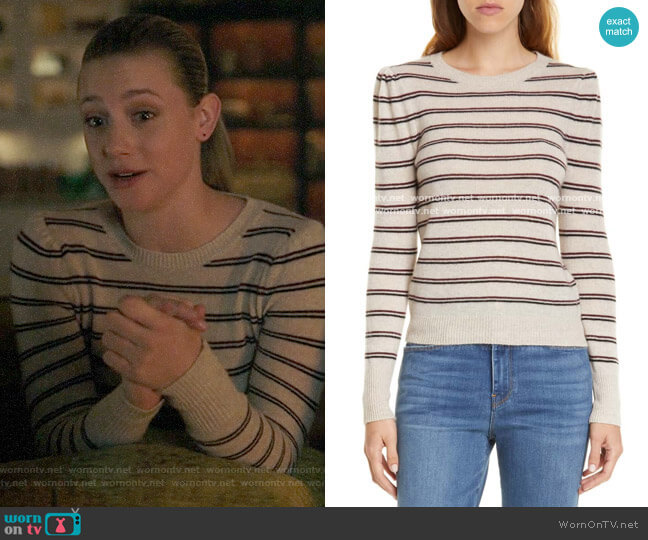 Frame Shirred Stripe Cashmere Sweater worn by Betty Cooper (Lili Reinhart) on Riverdale