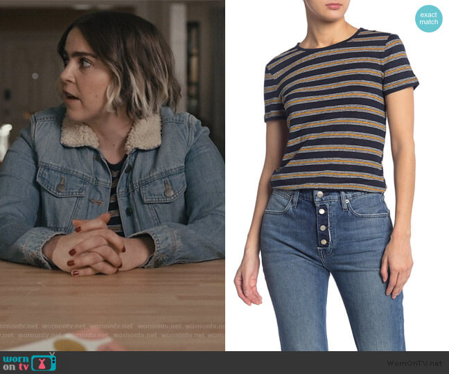 True Stripe Knit T-Shirt by Frame worn by Annie Marks (Mae Whitman) on Good Girls