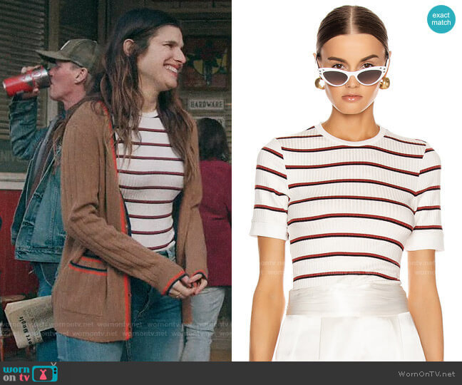 Frame Variegated 70s Tee  worn by Rio (Lake Bell) on Bless This Mess