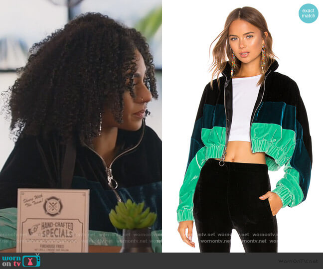 Velvet Track Jacket by Frankie B worn by Patience (Chelsea Tavares) on All American