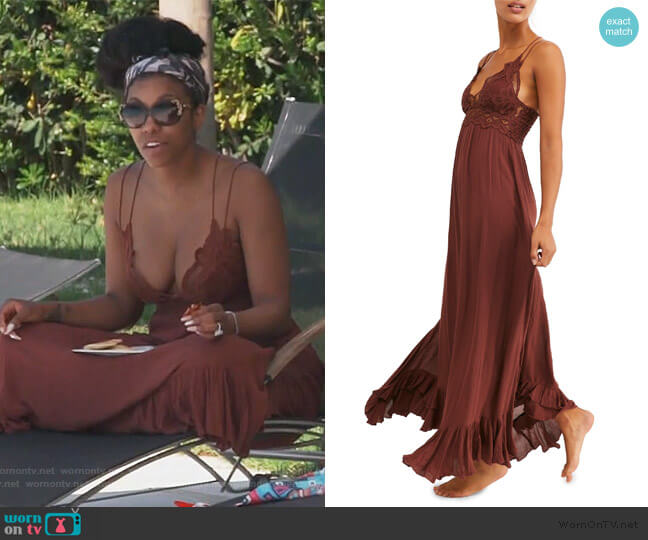 Adella Maxi Slip Dress by Free People worn by Porsha Williams  on The Real Housewives of Atlanta