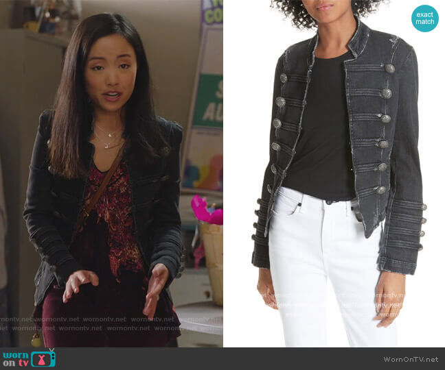 Fitted Military Denim Jacket by Free People worn by Janet (Andrea Bang) on Kims Convenience