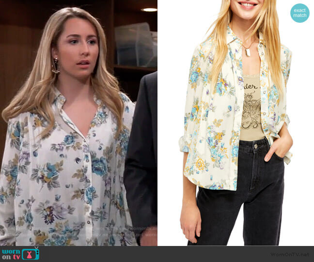 Hold On to Me Floral Long Sleeve Blouse by Free People worn by Josslyn Jacks (Eden McCoy) on General Hospital