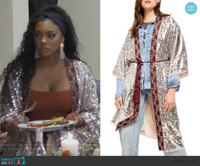 Light is Coming Sequin Duster by Free People worn by Porsha Williams  on The Real Housewives of Atlanta