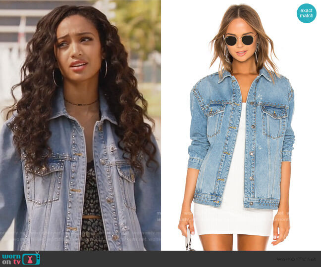 Studded Denim Trucker Jacket by Free People worn by Olivia Baker (Samantha Logan) on All American