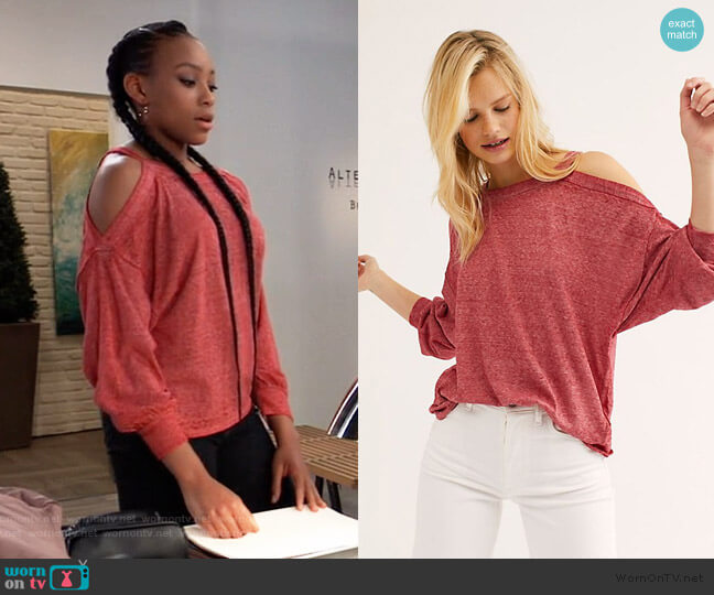 We The Free Chill Out Long Sleeve Sweatshirt by Free People worn by Trina (Sydney Mikayla) on General Hospital