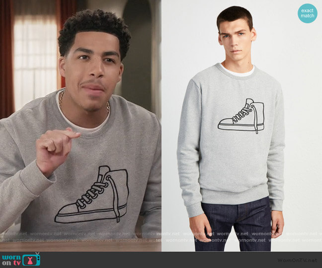 Sneaker Sweatshirt by French Connection worn by Andre Johnson Jr (Marcus Scribner) on Blackish