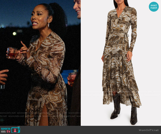 Ganni Marble Print Mesh Wrap Dress worn by Lola Carmichael (Simone Missick) on All Rise