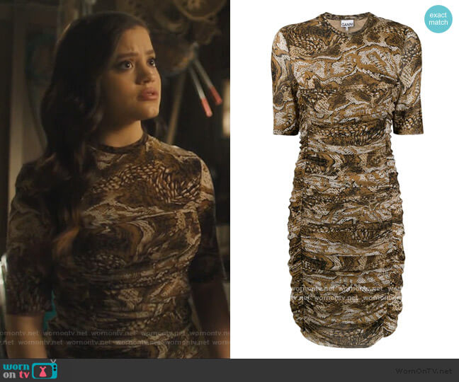 Ruched Graphic Snake Dress by Ganni worn by Maggie Vera (Sarah Jeffery) on Charmed