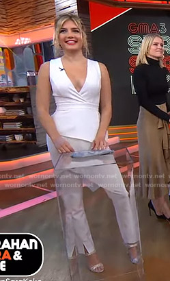 Giannina Gibelli's white asymmetric sleeveless top on GMA Strahan Sara And Keke