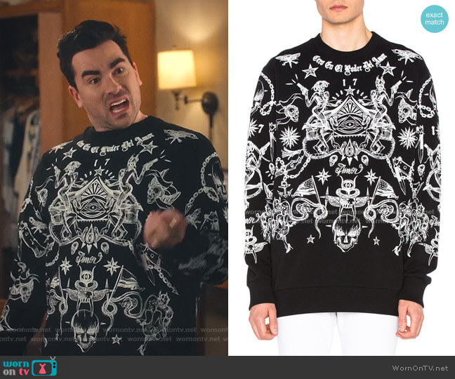 Tattoo All Over Sweatshirt by Givenchy worn by David Rose (Daniel Levy) on Schitts Creek