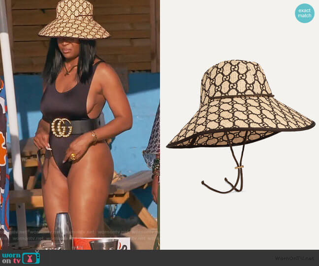 Embroidered Raffia Hat by Gucci worn by Marlo Hampton on The Real Housewives of Atlanta