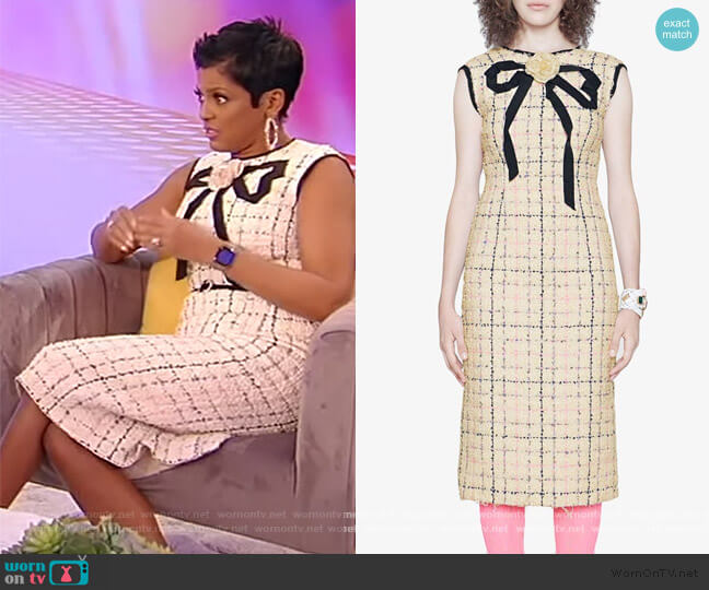 Tweed sheath dress with bow by Gucci worn by Tamron Hall  on Tamron Hall Show