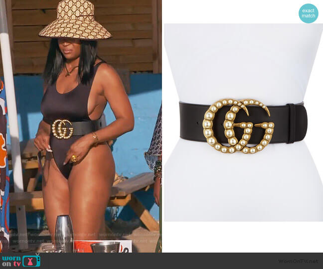 Wide Leather Belt w/ Pearlescent Beads by Gucci worn by Marlo Hampton on The Real Housewives of Atlanta