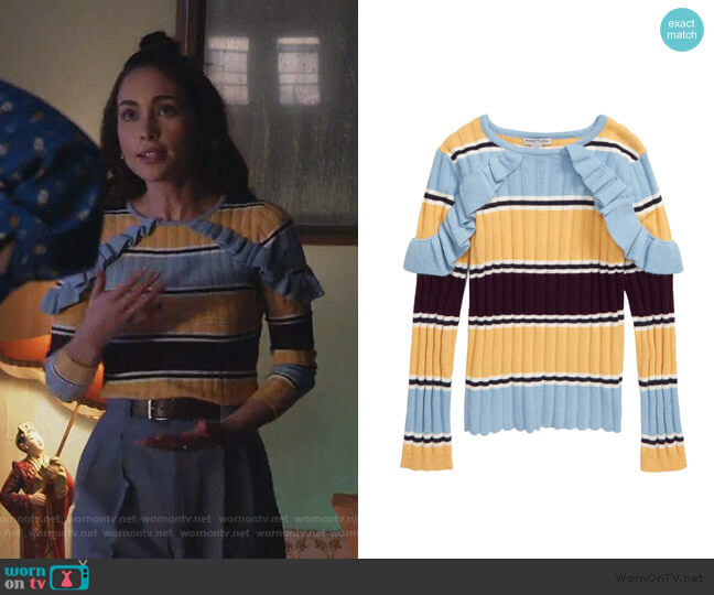 Rylee Ruffle Stripe Sweater by Habitual