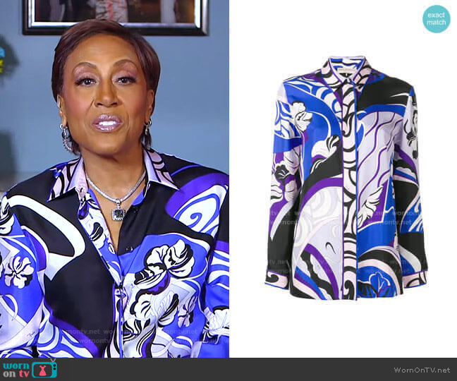 Hanami Print Silk Shirt by Emilio Pucci worn by Robin Roberts  on Good Morning America